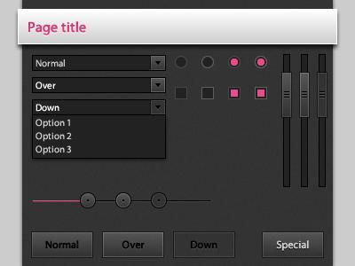 Dark UI Elements dark pink ui scrollbar button slider checkbox radio