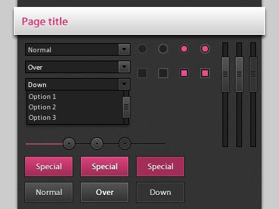 Dark UI Elements v2 pink button checkbox dark radio scrollbar slider ui
