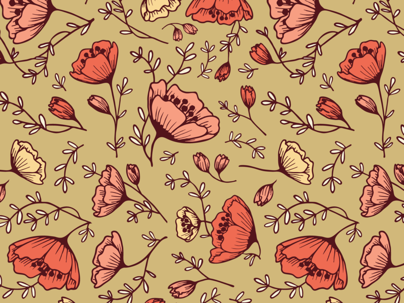 Tea Cup Flowers Pattern illustration surface pattern floral design floral art design pattern design handdrawn illustration