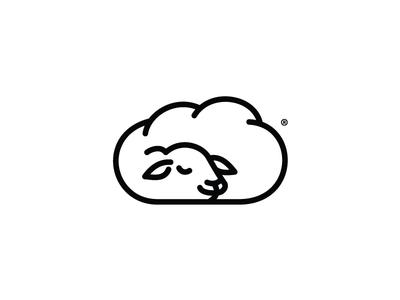 Sheep sleeping bw pillow brand design blackwithe vector logo sheep icon illustration sleeping sleep