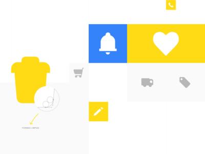 Icon system - Mercado Libre App blue yellow vector ui app e-commerce clean mercado libre product menu icons