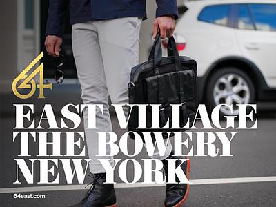 64 East Village - Billboard gold typography type design residence bowery new york real state brand branding billboard