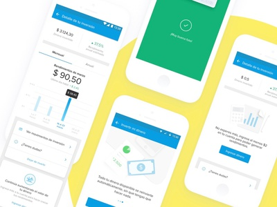 Inversiones en Mercado Pago graphic graphics minimal mercadopago mobile fintech mercadolibre clean ux ui