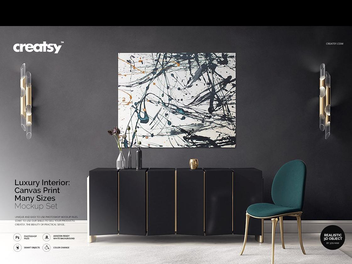 Luxury Interior Canvas Print Mockup by Interior Design on