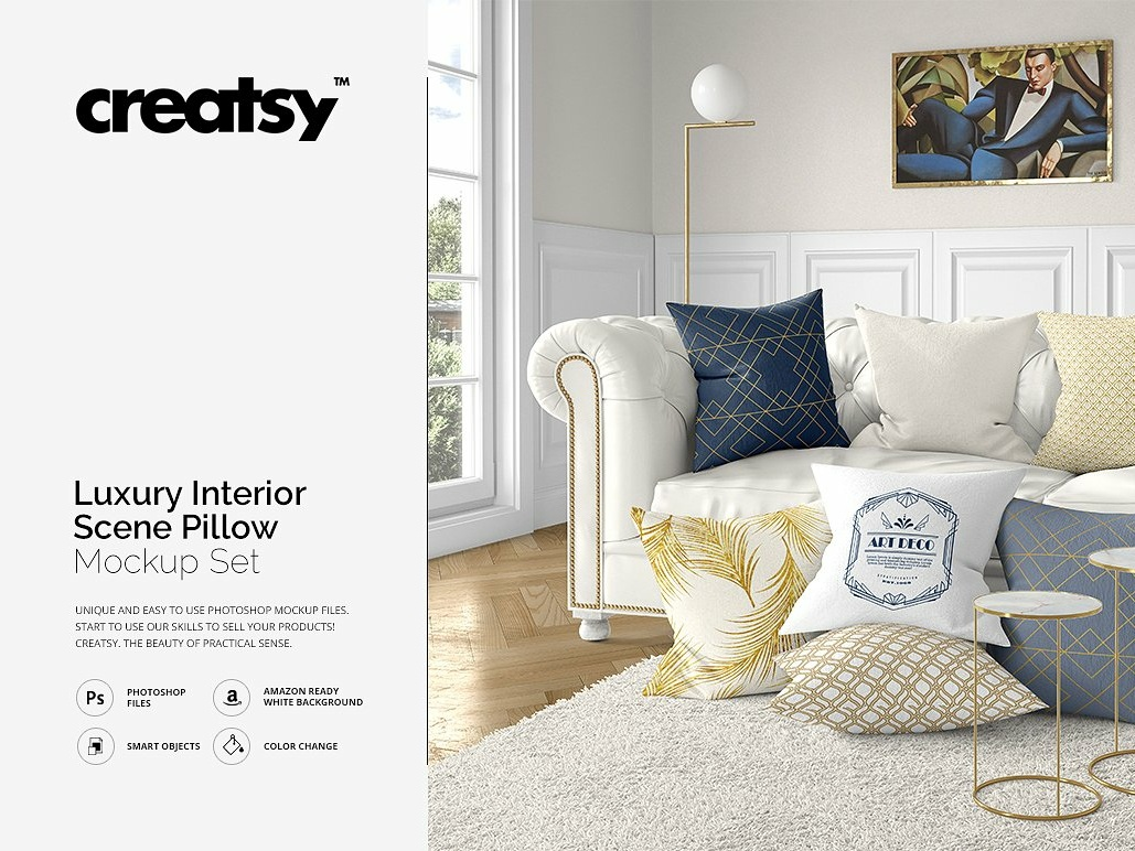 Luxury Interior Scene Pillow Mockup by Interior Design on