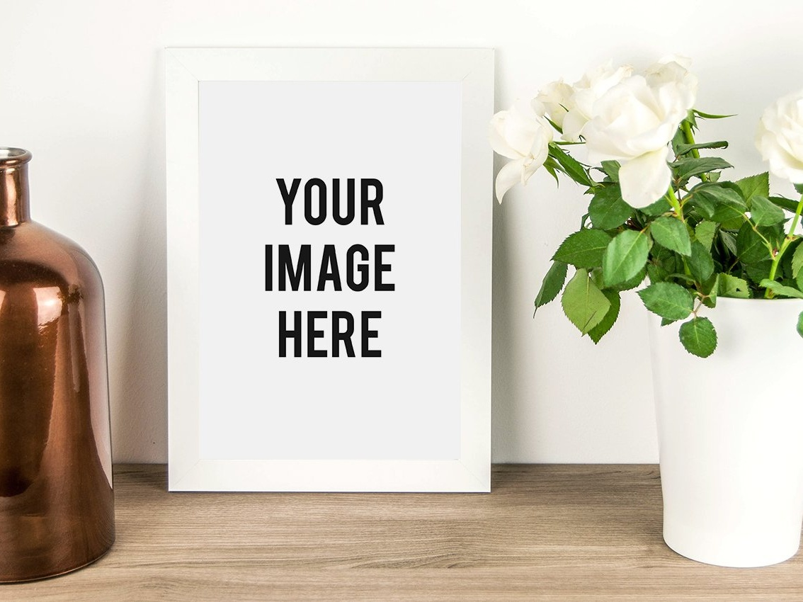 White Frame Mockup with Flowers kit mockup download illustration 3d icon rendering room interior architecture customizable mockup creator interior custom mockup design interior design design branding flowers mockup frame white