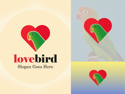 Colorful Lovebird Branding Logo Design brand illustration animal heart icon bird love vector branding creative graphic management minimalist background marketing simple business company logo lovebird