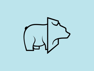Bearthrough bear logo puns blue bold black minimalist abstract lineart modern logodesign logo brand head through canvas simple breakthrough bear