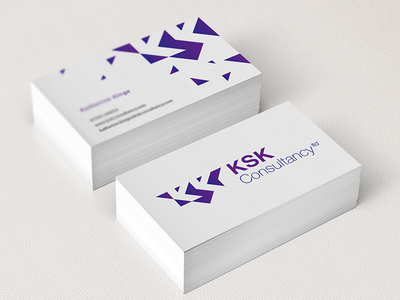 KSK Consultancy Branding business cards negative space marketing purple mockup logo branding