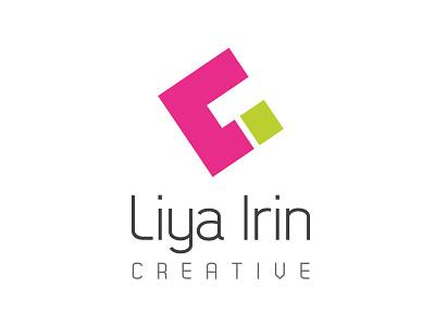 Liyairin Creative - Own Branding clever logo negative space minimalistic modern abstract creative font green pink branding logo