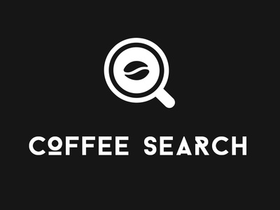 Coffee Search Branding negative space black and white coffee bean typography icon search branding logo coffee