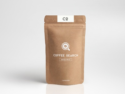 Coffee Search Packaging coffee mug paper bag typography search icon logo mockup branding coffee packaging