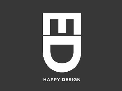 Happy Design negative space happy face brand identity symbol typography smile branding logo happy