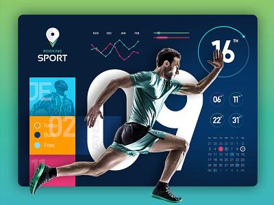 Sport Theme Dashboard  graph calendar ios active sport profile user app web ux ui dashboard