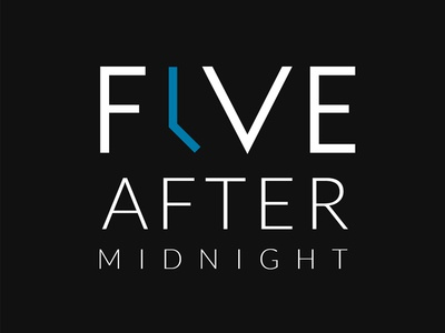 Five After Midnight negative space logo design branding typography time creative xfactor 5 icon clock logo