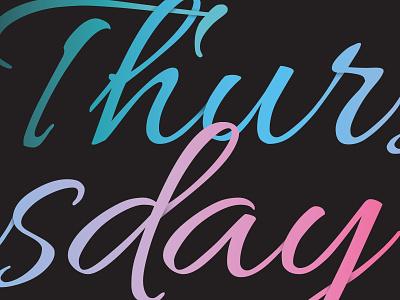 Thursday Dribble symbol minimalistic simple shadows font modern colour gradient type monogram logo illustration