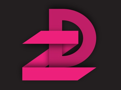 Z + D Monogram minimalistic modern pink depth 3d shadow icon logo monogram symbol