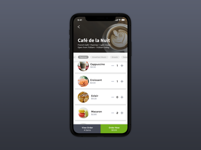Café Menu Screen ui design product adobe xd app ios design