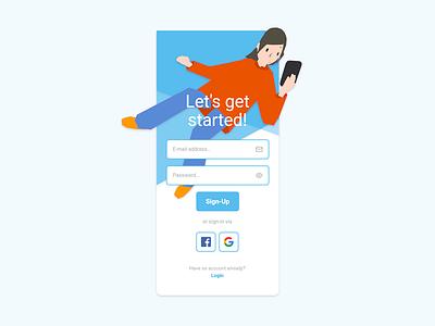 Daily UI #001 - Sign-Up design illustration ui design app adobe xd