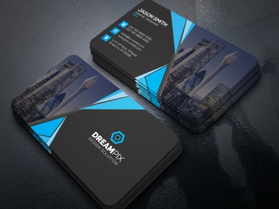 Black And Blue Business Card Design