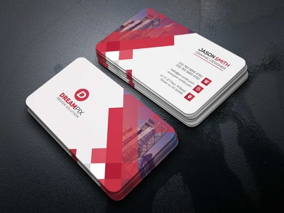 Red And White Business Card Design