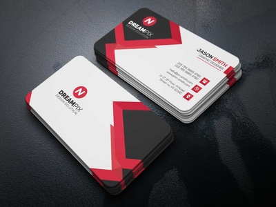 Black And Red Business Card Design