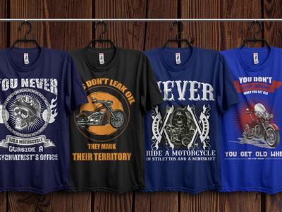 Motorcycle T-Shirts Design Bundle With Free Mockup