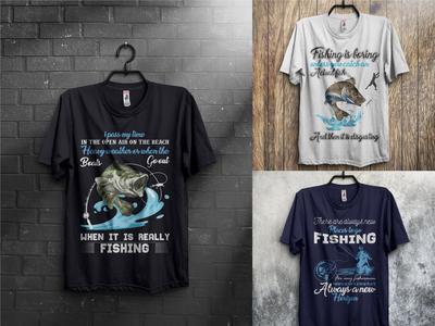 Fishing T-Shirts Design Bundle With Free Mockup