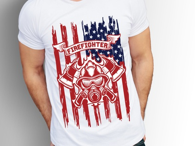 Firefighter T Shirt Design With American Flag And Free Mockup