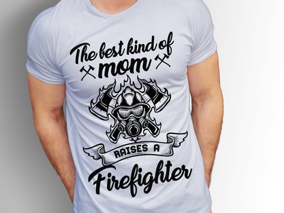 Firefighter T Shirt Design With Free T-shirt Mockup