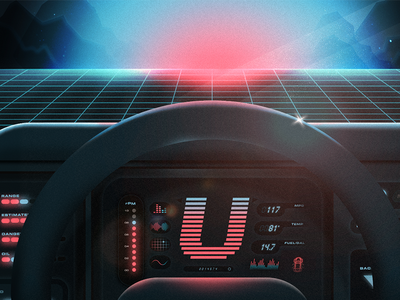 Back to the U-ture nightrider u blue pink car neon 80s tbt 36daysoftype