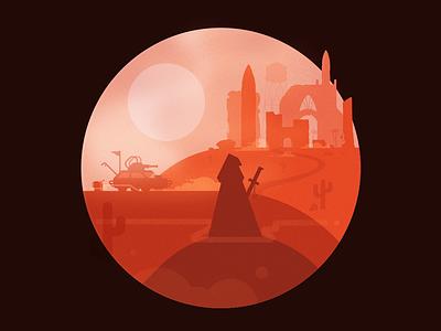 the ruinwalker mad max unknown city sunrise sunset vehicle illustration dust roguelike apocalypse ruins