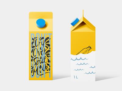 """Don't Cry Over Spilt Milk"" - Branding Concept packagingdesign illustration branding and identity caligraphy typography milk carton mockup milk branding"