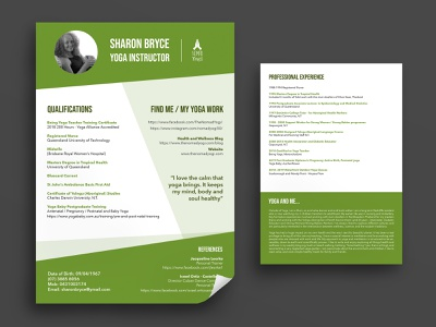Yoga Resume photoshop indesign graphic design layout green print double sided a4 mockup template resume yoga