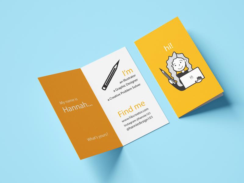 Folded Business Card for Graphic Designer print business card mockup mockup graphic art illustration orange graphic design business folded business card business card graphic designer