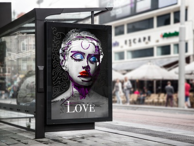 Edit Mockup pen drawing design photoshop portrait woman abstract mockup print graphic design graphic poster art
