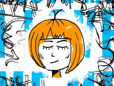 Cute Lil Illustration love photoshop overlay typography blue orange girl art character sketch design graphic art drawing illustration