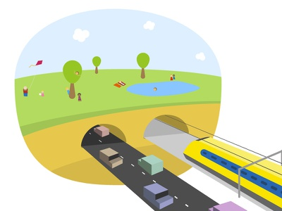 Going underground air quality green city illustration