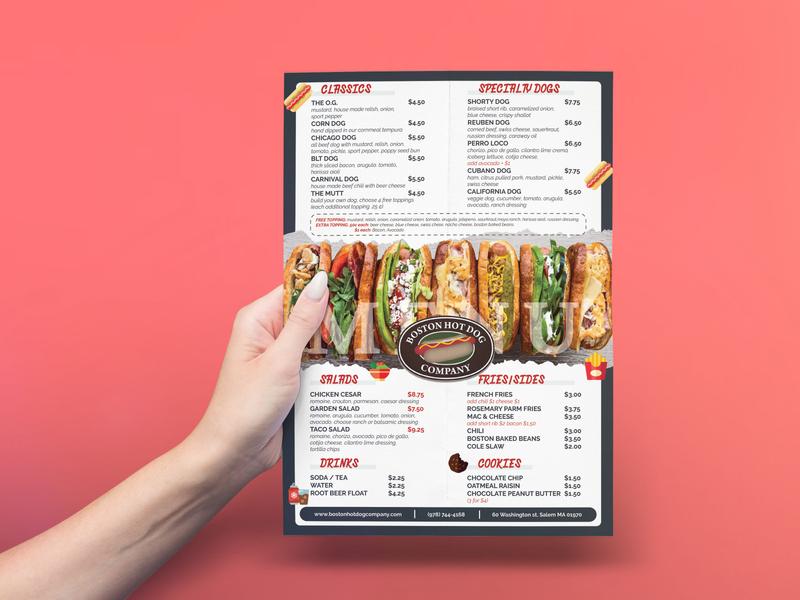 Clean and Minimal Hotdog Food Menu a4 mockup illustration poster menu card menu design hotdog blue food flyer restaurant flyer minimal menu food menu
