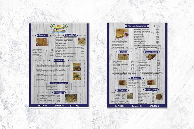 Restaurant Menu flyer mockup graphic design flyer layout blue and white menu card food menu menu design restaurant menu flyer