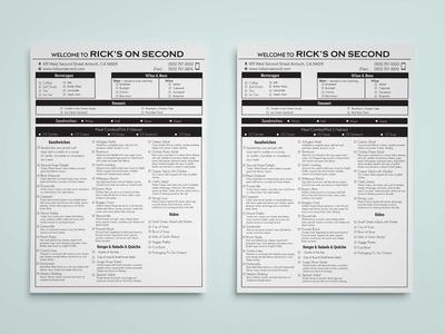 Menu List/ Order Form
