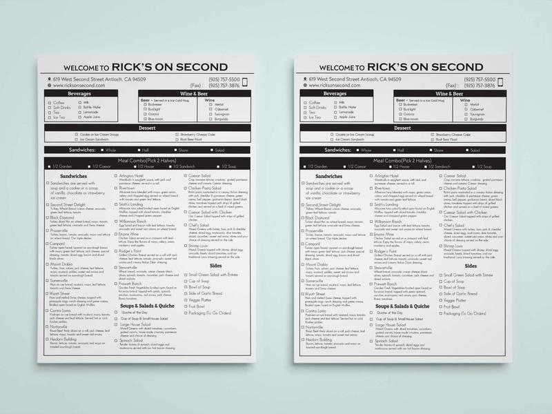 Menu List/ Order Form layout design leaflet menu card poster flyer resturant menu design catering food price list menu list