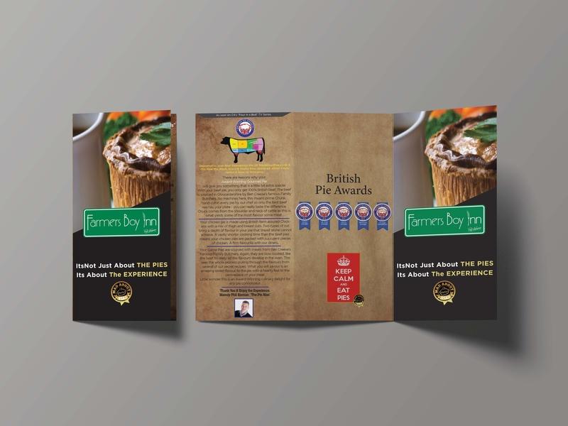 Tri-fold Brochure for a Restaurant graphic design menu card tri-fold brochure brochure mockup brochure psd flyer food menu restaurant black pie menu vintage menu menu design