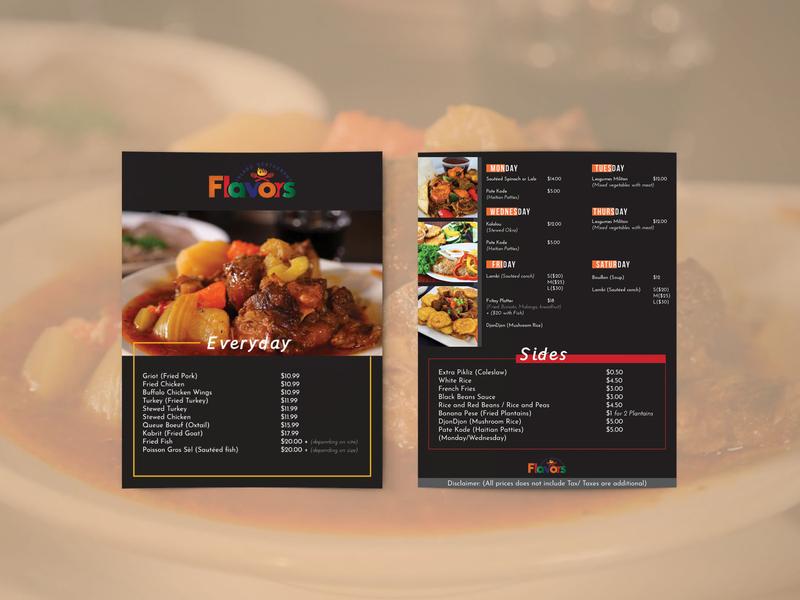 Flavours Restaurant Menu