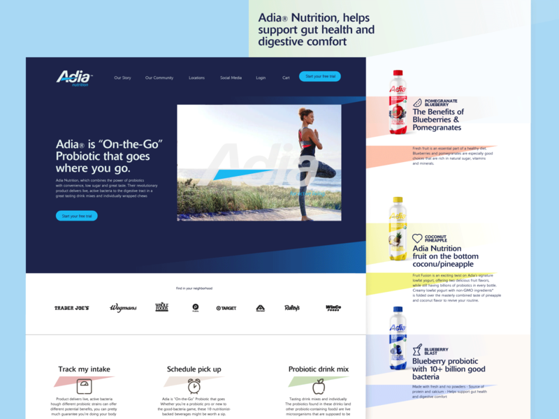 Adia beverages beverage probiotic nutrition adia website web ux ui typogaphy design branding