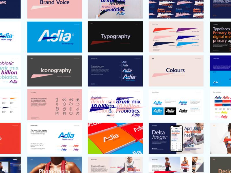 Adia Brand blue brandbook ux ui typography simple nutrition branding brandguide
