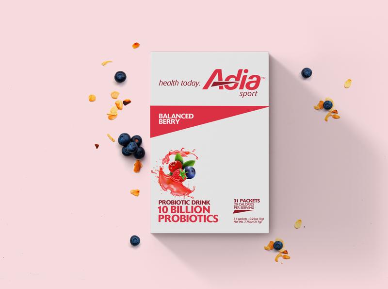 Adia Sport beverage nutrition probiotic drinks heathy design creative lead packaging branding typography