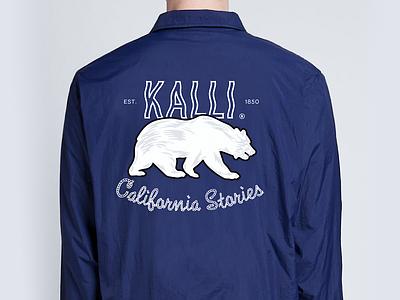 Kalli 1850 logo california stories bear icons branding illustration graphic windbreaker typography fashion apparel