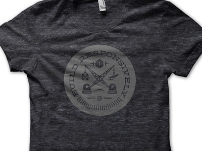 Build Responsively Tee tshirt build responsively responsive crest black gray