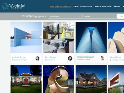 Wonderful Machine architecture card blue photographers search grid photo
